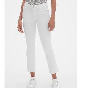 NWT Gap Mid Rise Crop Kick Jeans 24P White c465